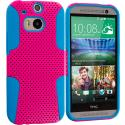 HTC One M8 Baby Blue / Hot Pink Hybrid Mesh Hard/Soft Case Cover Angle 1