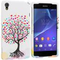 Sony Xperia Z2 Love Tree on White Hard Rubberized Design Case Cover Angle 1
