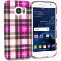 Samsung Galaxy S7 Hot Pink Checkered TPU Design Soft Rubber Case Cover Angle 1