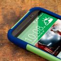 HTC One M8 - Blue-Green MPERO IMPACT X - Kickstand Case Cover Angle 5