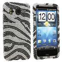 HTC Inspire 4G Silver n Black Zebra Bling Rhinestone Case Cover Angle 1