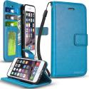 Apple iPhone 6 Plus 6S Plus (5.5) Baby Blue ProWorx Wallet Case Luxury PU Leather Case Cover With Card Slots & Stand Angle 1