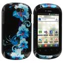 LG DoublePlay C729 / Flip II Blue Flowers Design Crystal Hard Case Cover Angle 1