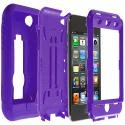 Apple iPod Touch 4th Generation Purple / Purple Hybrid Heavy Duty Hard/Soft Case Cover with Stand Angle 2