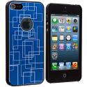 Apple iPhone 5/5S/SE Blue Metal Grid Aluminum Metal Hard Case Cover Angle 2
