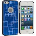 Apple iPhone 5/5S/SE Blue Metal Grid Aluminum Metal Hard Case Cover Angle 3