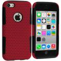 Apple iPhone 5C Black / Red Hybrid Mesh Hard/Soft Case Cover Angle 1