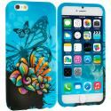 Apple iPhone 6 6S (4.7) Butterfly Flower on Blue TPU Design Soft Case Cover Angle 1