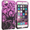 Apple iPhone 6 6S (4.7) Black Purple Swirl 2D Hard Rubberized Design Case Cover Angle 1
