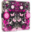 Apple iPhone 6 Plus 6S Plus (5.5) Pink Butterfly Leather Wallet Pouch Case Cover with Slots Angle 1