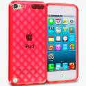 Apple iPod Touch 5th 6th Generation Red Argyle TPU Rubber Skin Case Cover Angle 1