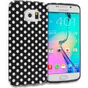 Samsung Galaxy S6 Edge Black / Mini White TPU Polka Dot Skin Case Cover Angle 1