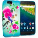Huawei Google Nexus 6P Blue Bird Pink Flower TPU Design Soft Rubber Case Cover Angle 1