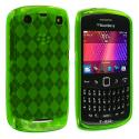 BlackBerry Curve 9350 9360 9370 Neon Green Checkered TPU Rubber Skin Case Cover Angle 1