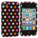 Apple iPhone 4 / 4S Chocolate Dots Design Crystal Hard Case Cover Angle 1