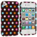 Apple iPhone 4 / 4S Chocolate Dots Design Crystal Hard Case Cover Angle 2