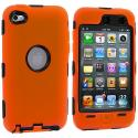 Apple iPod Touch 4th Generation Orange Deluxe Hybrid Deluxe Hard/Soft Case Cover Angle 1