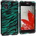 LG Optimus G LS970 / Eclipse Black / Baby Blue Zebra Design Crystal Hard Case Cover Angle 1