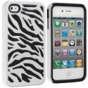 Apple iPhone 4 Black / White Hybrid Zebra Hard/Soft Case Cover Angle 1