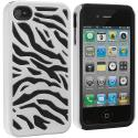 Apple iPhone 4 Black / White Hybrid Zebra Hard/Soft Case Cover Angle 2