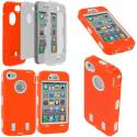 Apple iPhone 4 / 4S Orange / White + Protector Hybrid Deluxe Hard/Soft Case Cover Angle 1