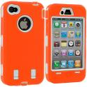 Apple iPhone 4 / 4S Orange / White + Protector Hybrid Deluxe Hard/Soft Case Cover Angle 3
