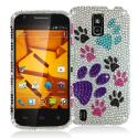 ZTE Force N9100 Colorful Dog Paw Bling Rhinestone Case Cover Angle 1