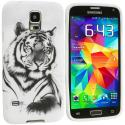 Samsung Galaxy S5 White TIger TPU Design Soft Case Cover Angle 2