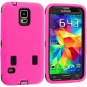 Samsung Galaxy S5 Hot Pink / Black Hybrid Deluxe Hard/Soft Case Cover Angle 2