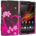 Sony Xperia Z Purple Love 2D Hard Rubberized Design Case Cover Angle 1