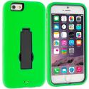Apple iPhone 6 6S (4.7) Neon Green / Black Hybrid Heavy Duty Hard/Soft Case Cover with Stand Angle 2