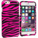 Apple iPhone 6 Plus 6S Plus (5.5) Black / Hot Pink Zebra Hard Rubberized Design Case Cover Angle 1
