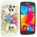 Samsung Galaxy Avant G386 Colorful Butterfly TPU Design Soft Rubber Case Cover Angle 1