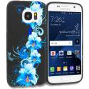Samsung Galaxy S7 Edge Blue Flowers TPU Design Soft Rubber Case Cover Angle 1