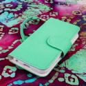 Apple iPhone 5 / 5S - Mint / White MPERO FLEX FLIP Wallet Case Cover Angle 2