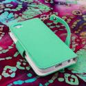 Apple iPhone 5 / 5S - Mint / White MPERO FLEX FLIP Wallet Case Cover Angle 3