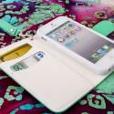 Apple iPhone 5 / 5S - Mint / White MPERO FLEX FLIP Wallet Case Cover Angle 4