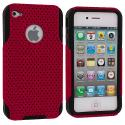 Apple iPhone 4 / 4S Black / Red Hybrid Mesh Hard/Soft Case Cover Angle 2