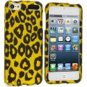 Apple iPod Touch 5th 6th Generation Black Leopard on Golden Hard Rubberized Design Case Cover Angle 1