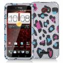 HTC Droid DNA Colorful Leopard Bling Rhinestone Case Cover Angle 1