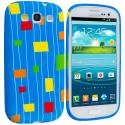 Samsung Galaxy S3 Baby Blue Square TPU Design Soft Case Cover Angle 1