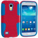 Samsung Galaxy S4 Mini i9190 Baby Blue / Hot Pink Hybrid Mesh Hard/Soft Case Cover Angle 1