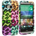 HTC One M8 Splicing Grid Leopard Hard Rubberized Design Case Cover Angle 1