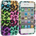 Apple iPhone 4 / 4S Splicing Grid Leopard Hard Rubberized Design Case Cover Angle 1
