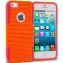 Apple iPhone 5/5S/SE Red / Orange Hybrid Mesh Hard/Soft Case Cover Angle 1