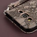 Samsung Galaxy Prevail LTE - Black Lace MPERO FLEX FLIP Wallet Case Cover Angle 7