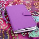 Samsung Galaxy Mega 5.8 - Purple MPERO FLEX FLIP Wallet Case Cover Angle 2