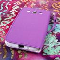 Samsung Galaxy Mega 5.8 - Purple MPERO FLEX FLIP Wallet Case Cover Angle 3