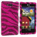 LG Lucid VS840 Black / Hot Pink Zebra Bling Rhinestone Case Cover Angle 1