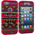Apple iPhone 5/5S/SE Red Tribal Hybrid Tuff Hard/Soft 3-Piece Case Cover Angle 1